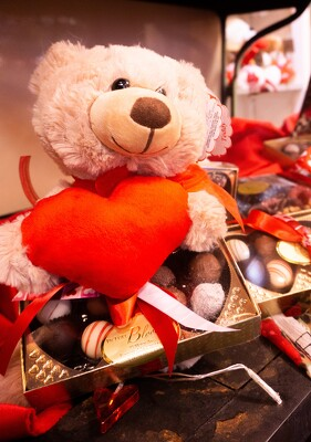 VD Bear with Chocolates from In Full Bloom in Farmingdale, NY