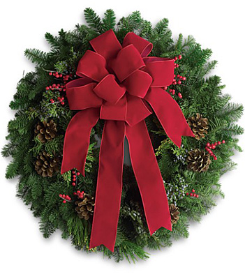 Classic Holiday Wreath from In Full Bloom in Farmingdale, NY