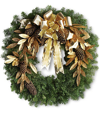 Glitter & Gold Wreath from In Full Bloom in Farmingdale, NY